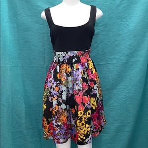 Xtraordinary black and flower mini dress sz large